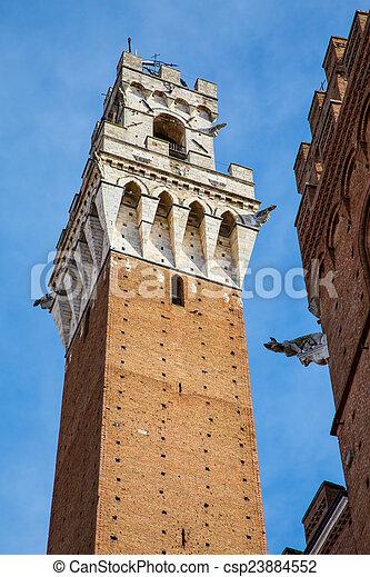 Image of Torre del Mangia in Siena Italy - csp23884552