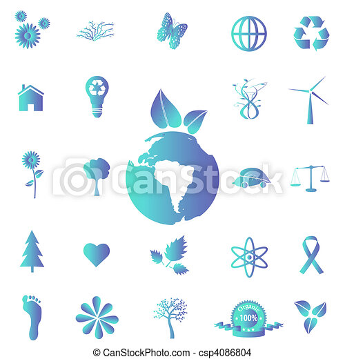 Image of various blue eco-friendly icons on a white background. - csp4086804