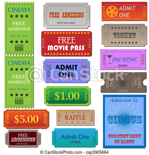 Image of various cinema and admission tickets. - csp3905664
