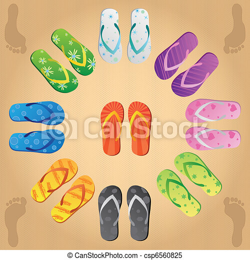 Image of various colorful flip flops on a sandy background. - csp6560825
