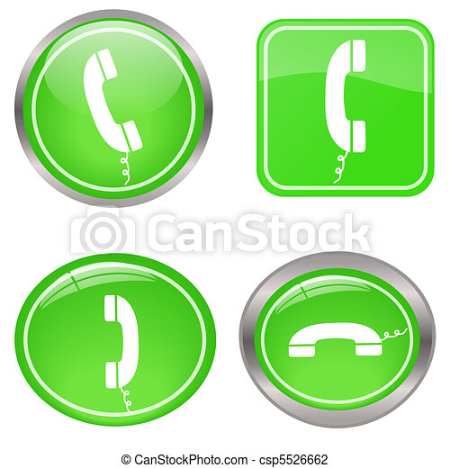 Image of various colorful green phone buttons isolated on a white background. - csp5526662