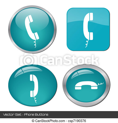 Image of various colorful phone buttons isolated on a white background. - csp7190376