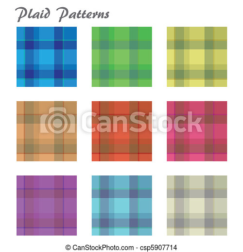 Image of various colorful plaid patterns isolated on a white background. - csp5907714