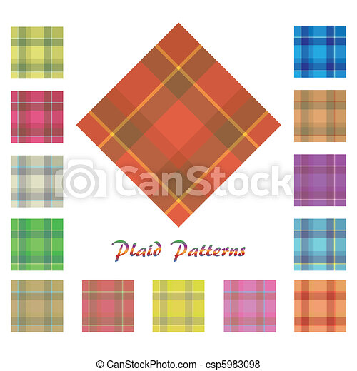 Image of various colorful plaid patterns isolated on a white background. - csp5983098