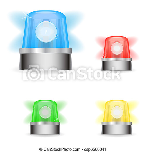 Image of various colorful responder lights isolated on a white background. - csp6560841