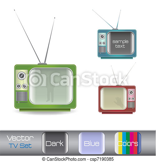 Image of various colorful retro television isolated on a white background. - csp7190385
