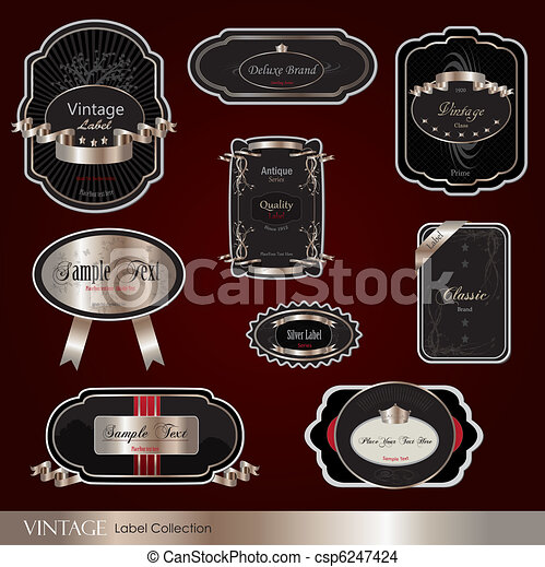 Image of various colorful vintage labels on a maroon background. - csp6247424