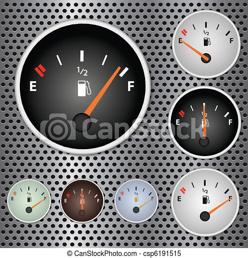 Image of various gas gauges on a metallic background. - csp6191515