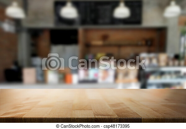 Awe Inspiring Image Of Wooden Table In Front Of Bar Abstract Blurred Home Interior And Landscaping Pimpapssignezvosmurscom
