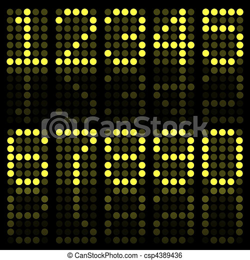 Image of yellow numbers on a dark background. - csp4389436