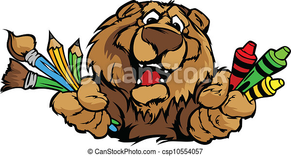 image, ours, vecteur, mascotte, dessin animé, préscolaire, heureux - csp10554057