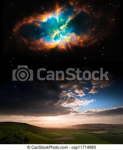 image, planètes, nuit, éléments, nasa., coucher soleil, ceci, ciel, paysage, campagne, meublé, gov - csp11714993