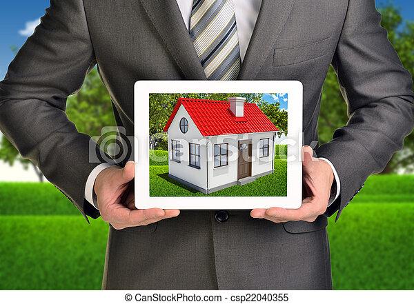 image, tablette, maison, écran, toit, pc., mains, petit, prise, rouges - csp22040355