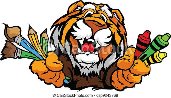 image, tigre, vecteur, mascotte, dessin animé, préscolaire, heureux - csp9243769