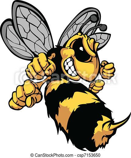 image, vecteur, dessin animé, frelon, abeille - csp7153650