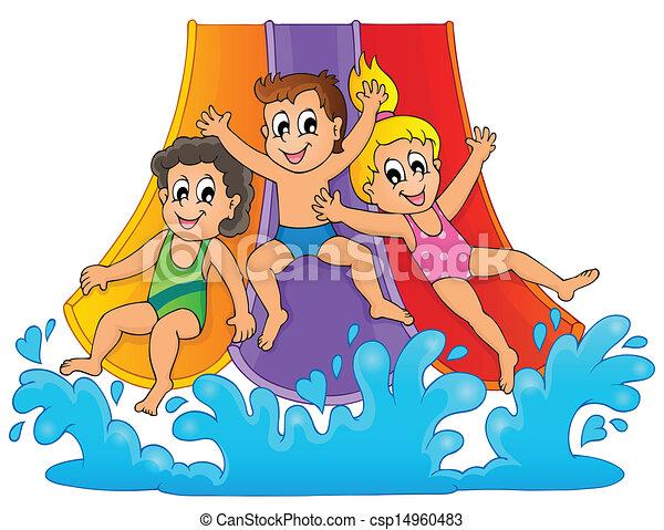 Image with aquapark theme 1 - csp14960483