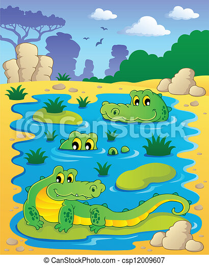 Image with crocodile theme 2 - csp12009607