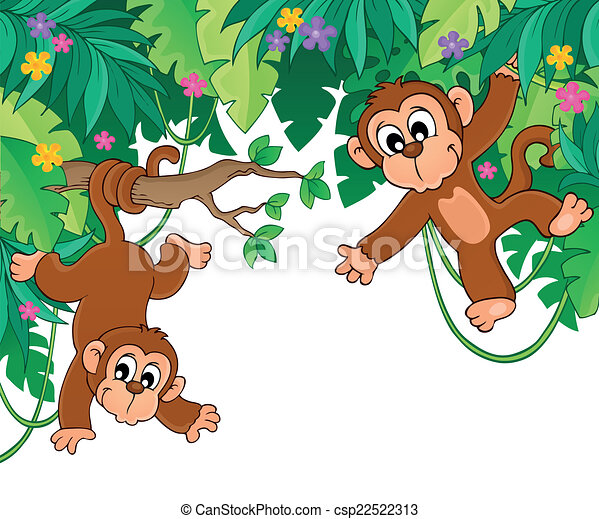 Theme Jungle image with jungle theme 6 - eps10 vector illustration.