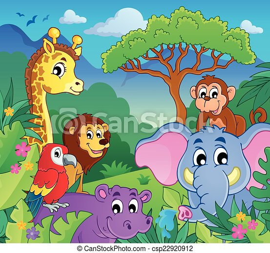 Theme Jungle image with jungle theme 9 - eps10 vector illustration.