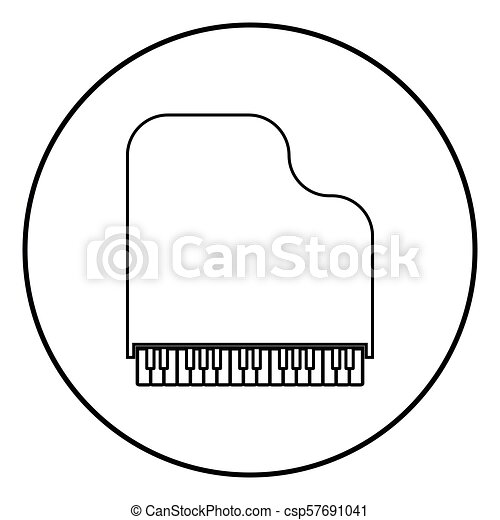 imagem a cores, ilustração, simples, vetorial, pretas, piano grande, ícone - csp57691041