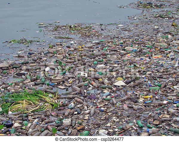 imagem, cheio, rio, lixo, poluído - csp3264477