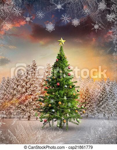 imagem composta, árvore, natal - csp21861779