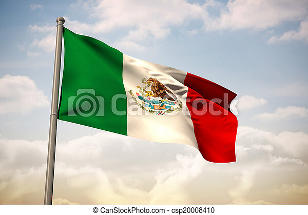 imagem composta, bandeira, nacional, méxico - csp20008410