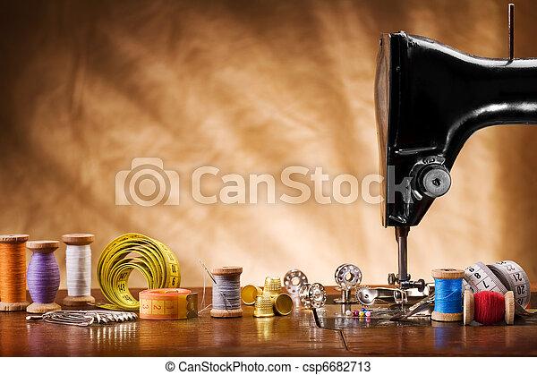 imagem, cosendo, ferramentas, espaço cópia - csp6682713