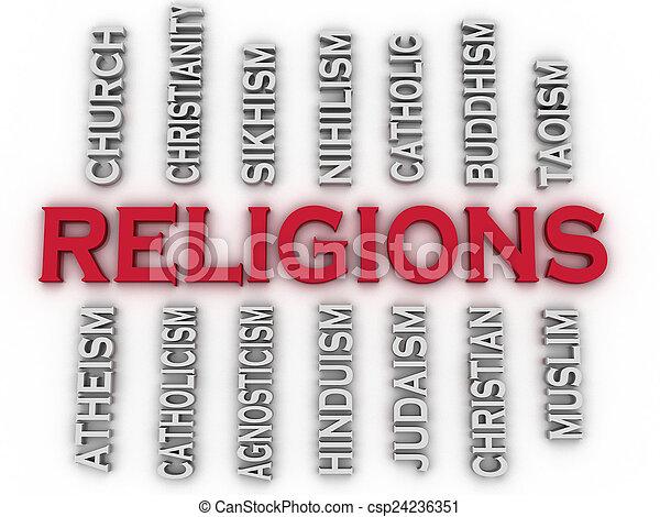 imagem, nuvem, edições, religiões, mundo, principal, 3d, conceito, palavra - csp24236351