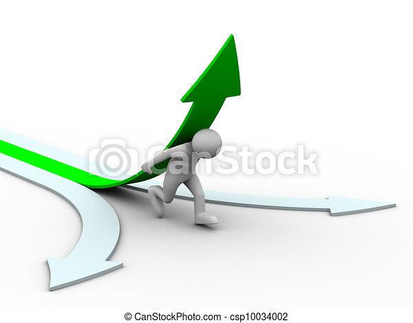 Hombre trepar flecha verde. Imagen 3D aislada - csp10034002