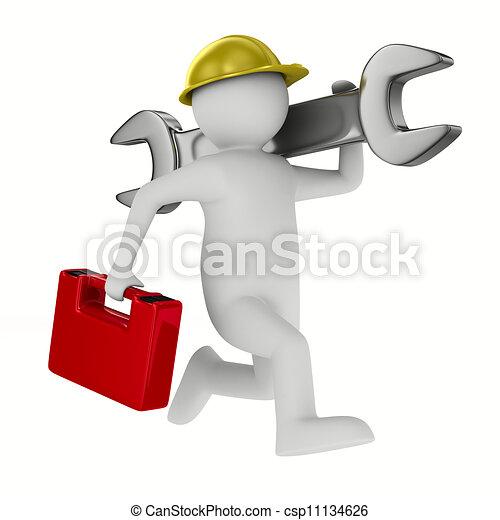 imagen, aislado, fondo., llave inglesa, blanco, hombre, 3d - csp11134626