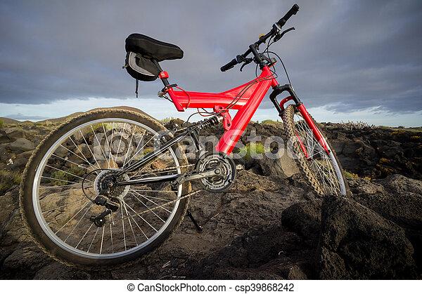 imagen, bicicleta, ocaso, montaña - csp39868242