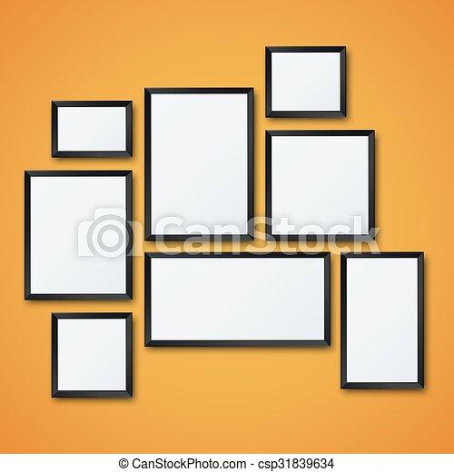 Imagen, conjunto, cuadro de pared, vector, blanco, naranja. Imagen ...