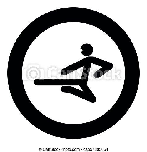 Ninja con palo de patada, icono negro vector ilustración simple imagen - csp57385064