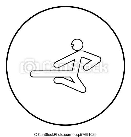 Ninja con palo de patada, icono negro vector ilustración simple imagen - csp57691029
