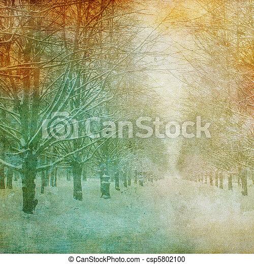 La imagen grunge del paisaje invernal - csp5802100