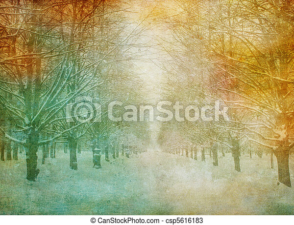 La imagen grunge del paisaje invernal - csp5616183