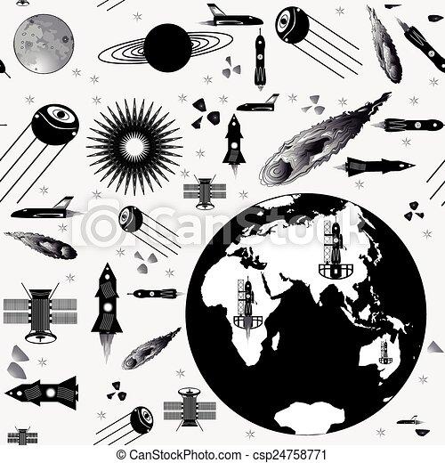 imagen, nave espacial, patrones - csp24758771