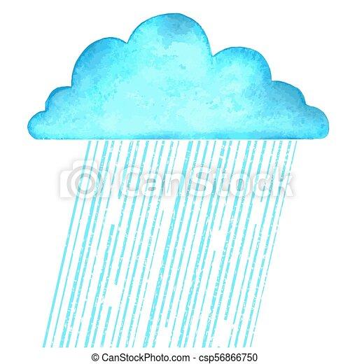 Llueve. Imágenes de vector con una nube azul de lluvia en un día húmedo en blanco - csp56866750