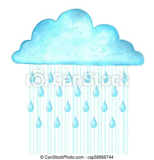 Llueve. La imagen del vector con una nube azul de lluvia en un día húmedo - csp56866744