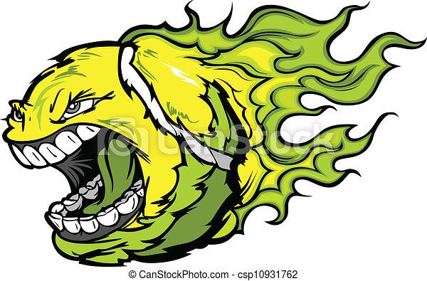 Bola de tenis gritando cara con la imagen del vector de las llamas - csp10931762