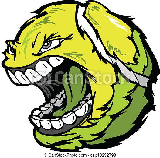 Bola de tenis gritando imagen de vector de dibujos animados - csp10232798