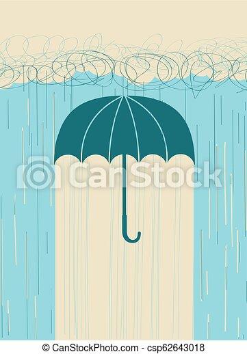 Lluvia, imagen dibujada a mano con paraguas y nubes oscuras - csp62643018