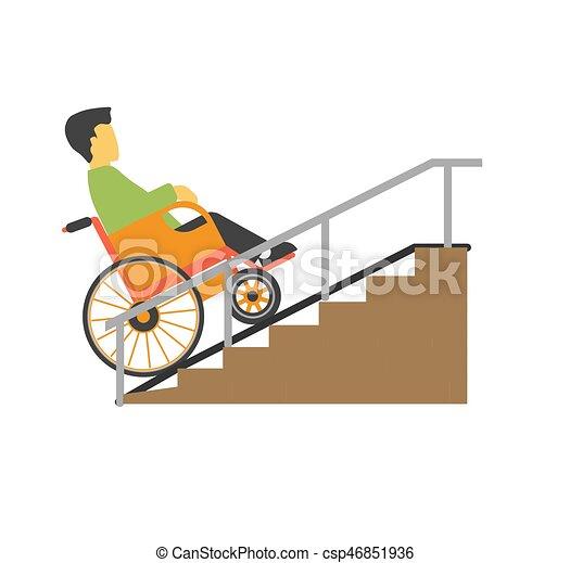 Hombre en silla de ruedas montando en la foto del vector de las escaleras - csp46851936
