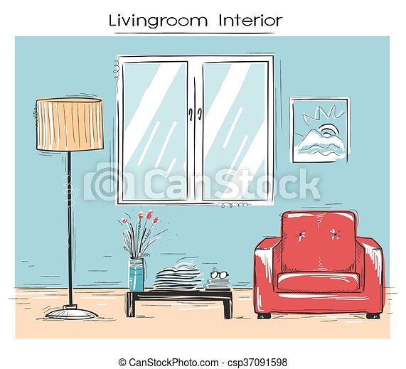 Ilustración cutre del interior de la sala de estar. Imágenes de color de mano vector - csp37091598
