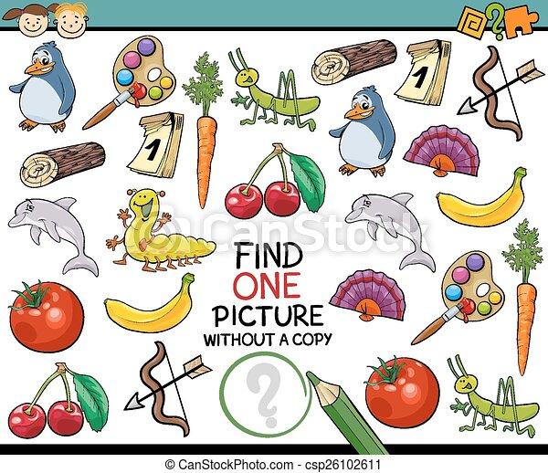 imagen, solo, juego, caricatura, hallazgo - csp26102611