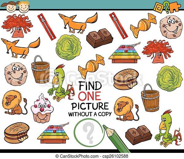 imagen, solo, juego, caricatura, hallazgo - csp26102588