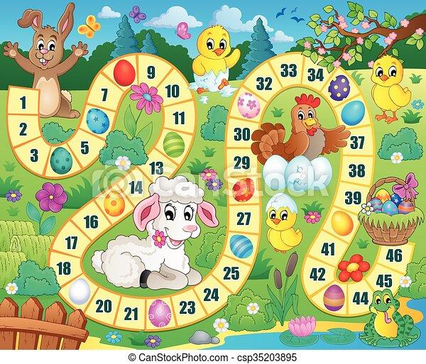 Imagen de juego de mesa con tema de Pascua - csp35203895