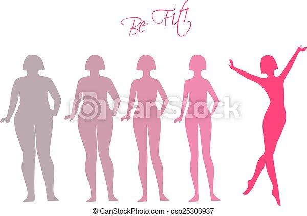 imagens, ser, mulher, silueta, ajustar - csp25303937