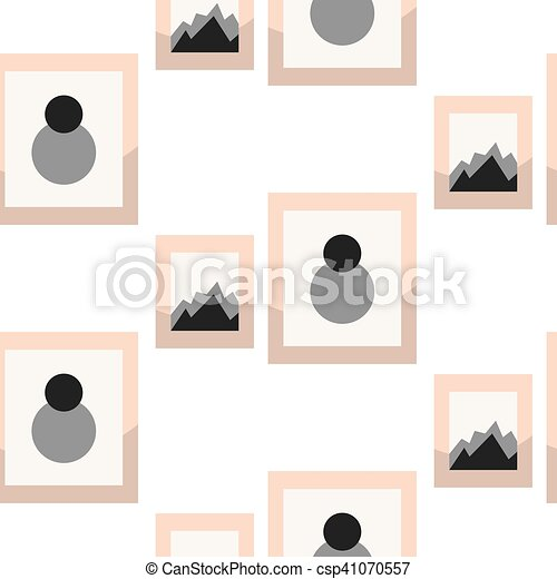 Images in frameson wall seamless vector pattern. - csp41070557